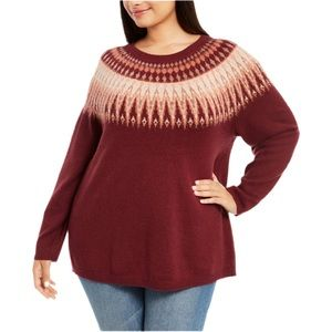 Style & Co. Fair Isle Pullover Sweater in Red